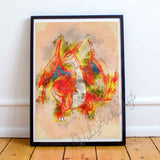 Charizard poster Pokemon Go, Watercolor Art Print