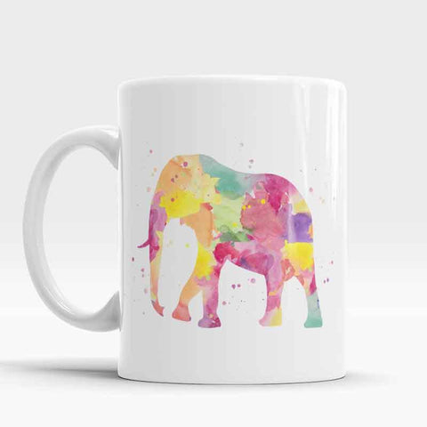 Elephant Watercolor Ceramic Cup Art Illustration Cool Kitchen Art Printed mug
