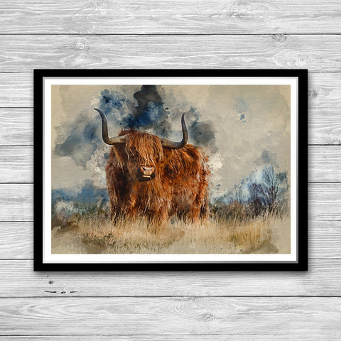 Bull Print, Painted Poster Animal wall art