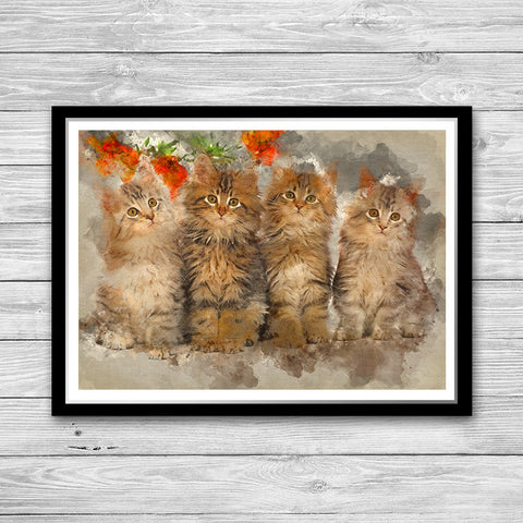 Cats wall art print painting poster Home Decor