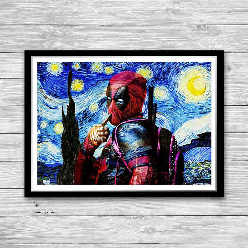 Deadpool Starry Night Art Print, Painted Poster