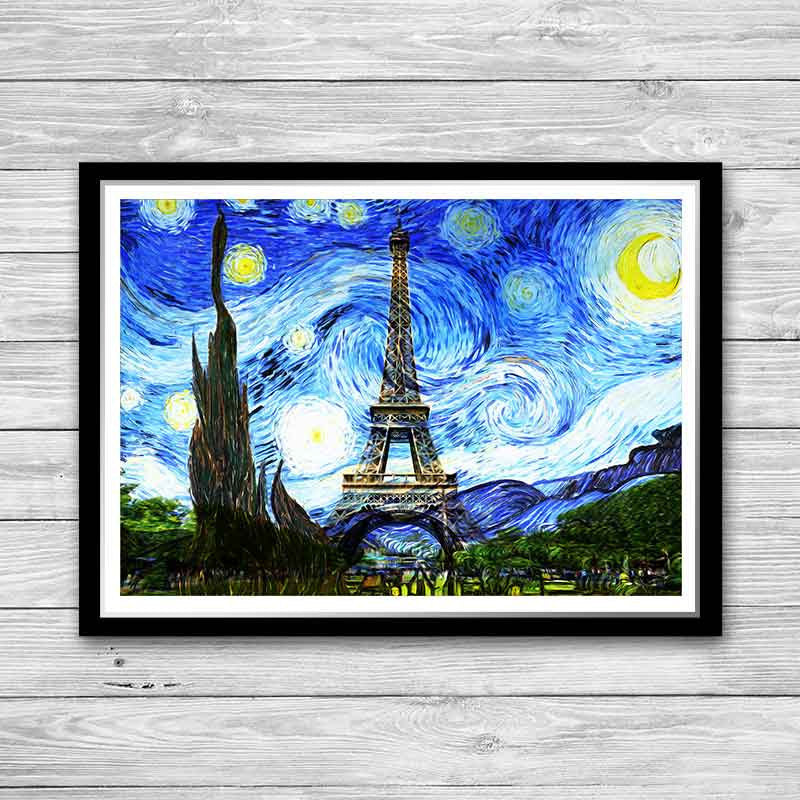 Eiffel Tower Print, Starry Night Print, Reproduction of Vincent Van ...