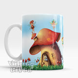 Kids Mug Fairies flying around mushroom houses Cute Cup