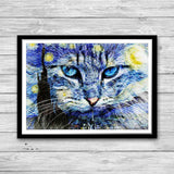 Cat Starry Night Art Print wall art Nursery Art Decor, Gifts for Cat Lovers, Cat Printable Decor Cat illustration starry night painting