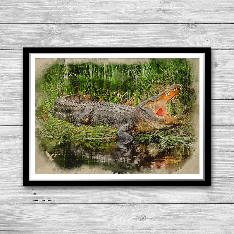 Crocodile Print Watercolor Art Poster Crocodile Painting Poster, Animal wall art Homme decor, Crocodile Poster, Crocodile decor, Crocodile