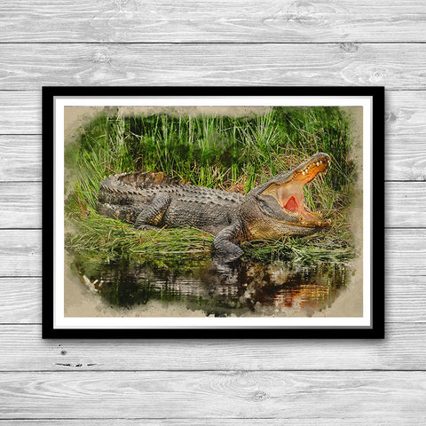 Crocodile Print Watercolor Art Painting Poster, Animal wall art Homme decor