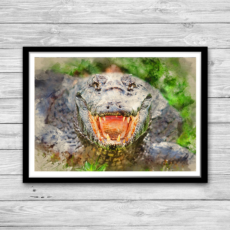 Crocodile Watercolor Art Print Painting Poster, Animal wall art