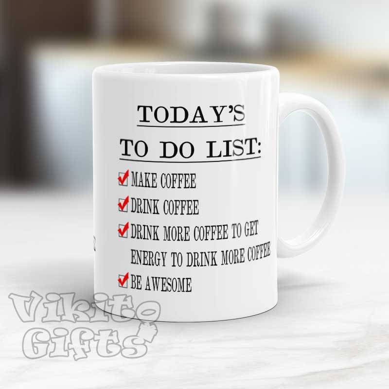 Funny Coffee Mug with To do List
