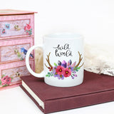 Wild World Coffee mug with watercolor flowers, Boho style cup