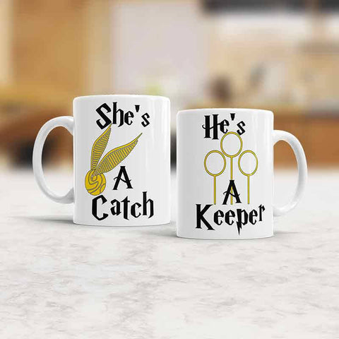 He's a keeper she's a catch Set Mugs His and Hers mugs Couples cups