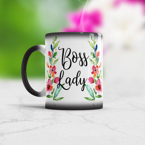 Boss Lady Office cup Watercolor Floral Art coffee Mug
