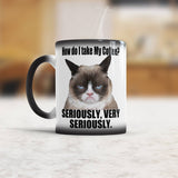 How do I take my Coffee Seriously Funny Grumpy cat coffee mug
