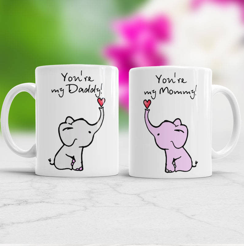 New Parent gift Mommy and Daddy mug Set of 2 mugs