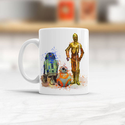 Watercolor droids mug