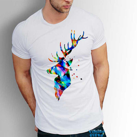 Deer antlers Men's cotton T-shirt Unique gift for him