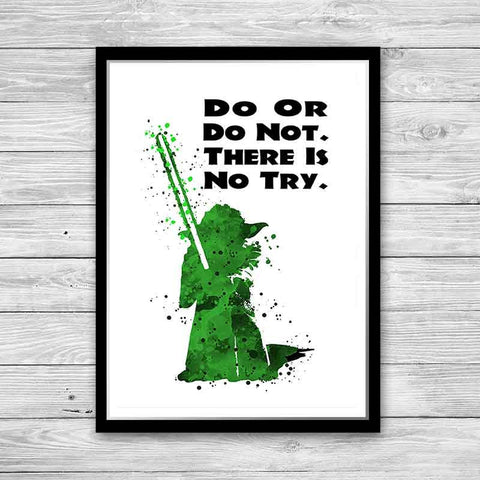 Do or do not Yoda Poster Do or do not there is no try Yoda Poster With Quote Star Wars Poster Yoda do or do not print Watercolor Wall Art