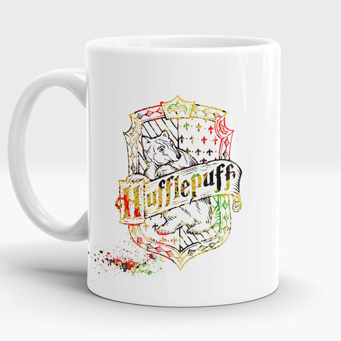 Coffee mug with quote Loyalty Kindness Honesty Friendship Watercolor Art Cup Hufflepuff