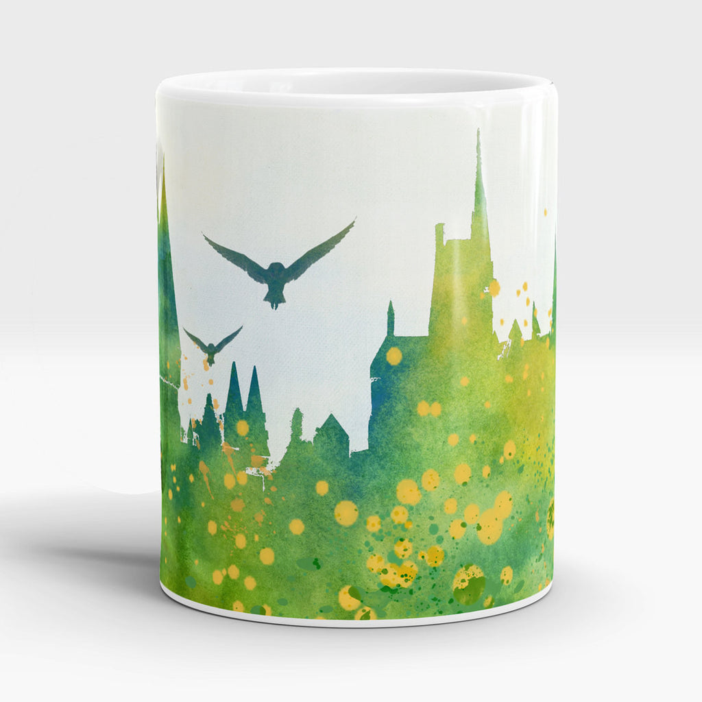 Watercolor castle mug