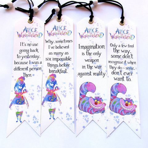 Handmade Bookmarks Set of 4 pieces Alice and Wonderland
