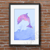 Dolphin, Dolphin poster, watercolor animal, dolphin poster art, dolphin print, dolphin watercolor, dolphin painting, Nursery decor, Wall art