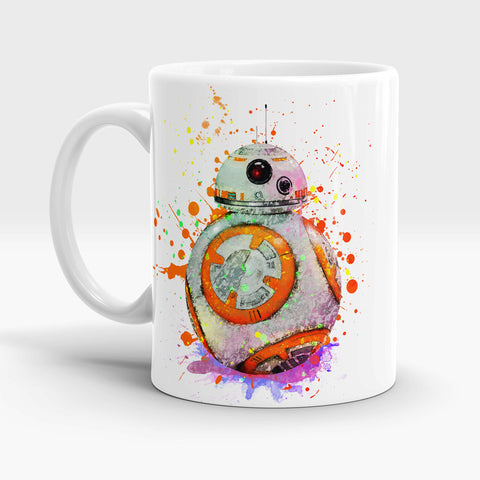 Watercolor art BB-8 coffee tea mug