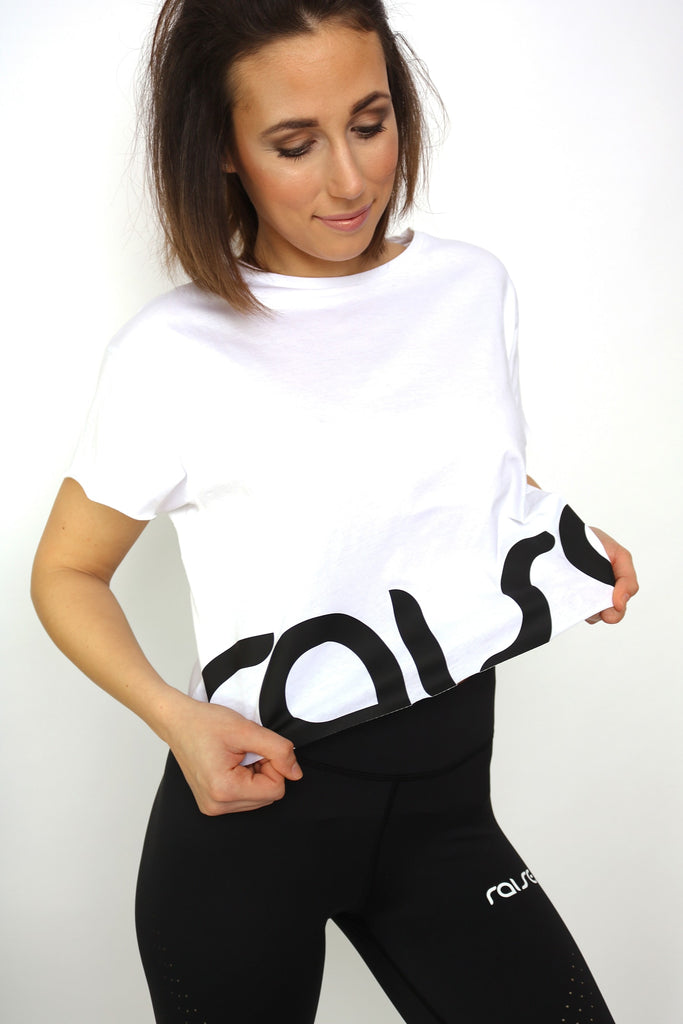 White Cropped Logo Tee