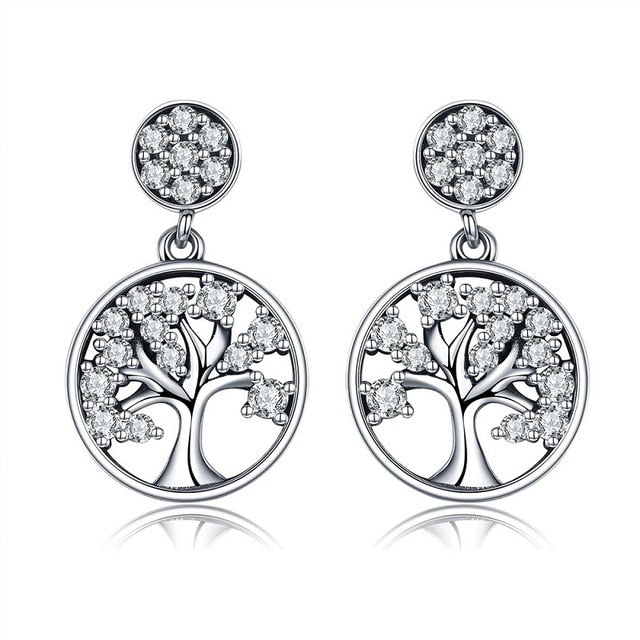 BAMOER Genuine 100% 925 Sterling Silver Tree of Life ,AAA Zircon Drop Earrings for Women Sterling Silver Jewelry Brincos SCE067