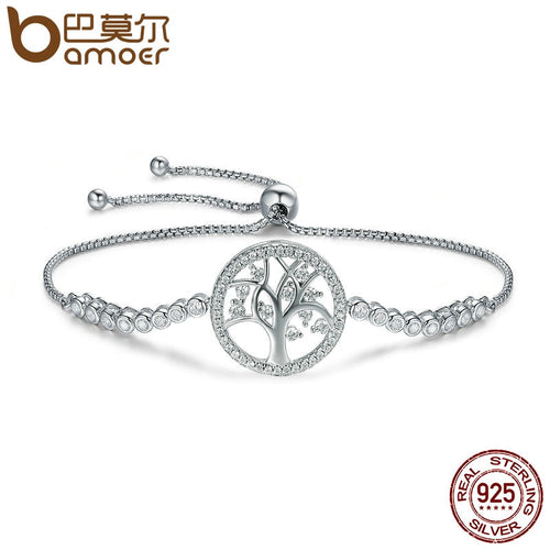 BAMOER Hot Sale 100% 925 Sterling Silver Tree of Life Tennis Bracelet Women Adjustable Link Chain Bracelet Silver Jewelry SCB035