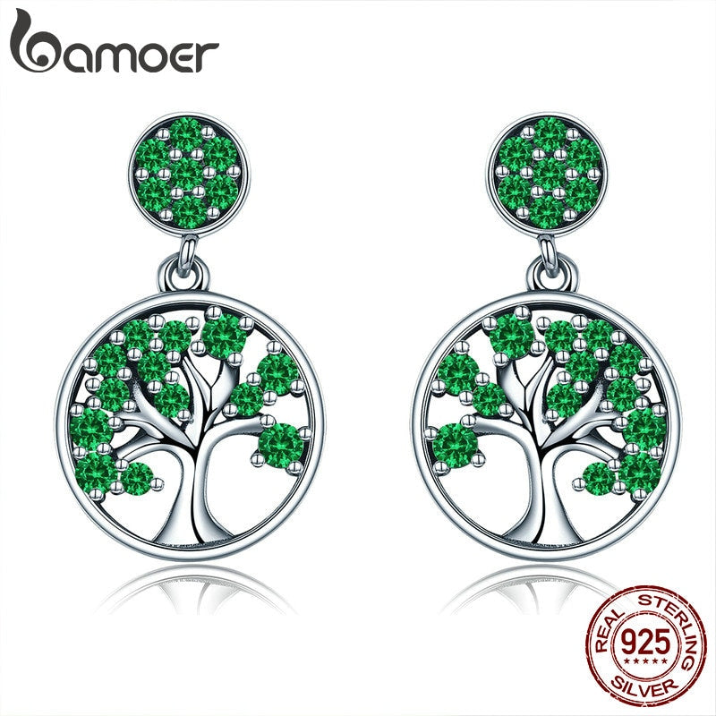 BAMOER Genuine 925 Sterling Silver Tree of Life Green AAA Zircon Drop Earrings for Women Sterling Silver Jewelry Brincos SCE322