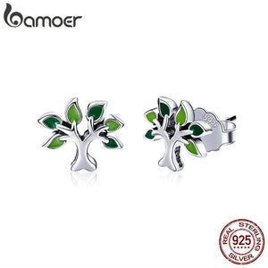 BAMOER 100% 925 Sterling Silver Tree of Life Stud Earrings Tree Leaves Leaf Earrings for Women Fashion Silver Jewelry SCE409