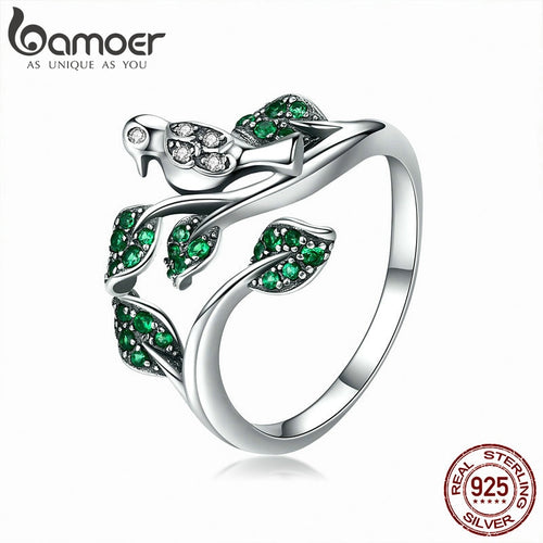 BAMOER High Quality 100% 925 Sterling Silver Tree Leaves with Bird Finger Rings for Women Wedding Engagement Ring Jewelry BSR009