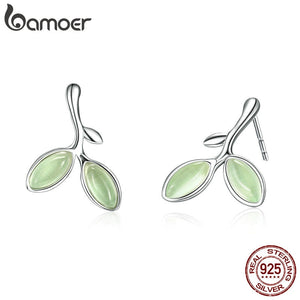 BAMOER Real 925 Sterling Silver Hope Leaves Tree Green Buds Small Stud Earrings for Women Authentic Silver Jewelry SCE465