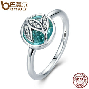 BAMOER High Quality Genuine 925 Sterling Silver Tree of Life Finger Rings for Women,Green AAA Zircon Engagement Jewelry SCR105