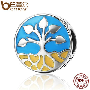 BAMOER New Collection 925 Sterling Silver Life And Growth Tree of Life Blue Enamel Charms Beads fit Bracelets Jewelry SCC170