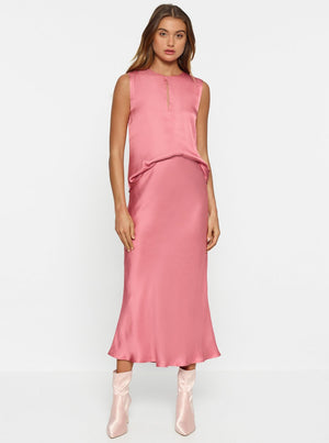 Load image into Gallery viewer, Luxe Deluxe - Look Again Bias Cut Long Midi Skirt - French Rose - Lucente Collective