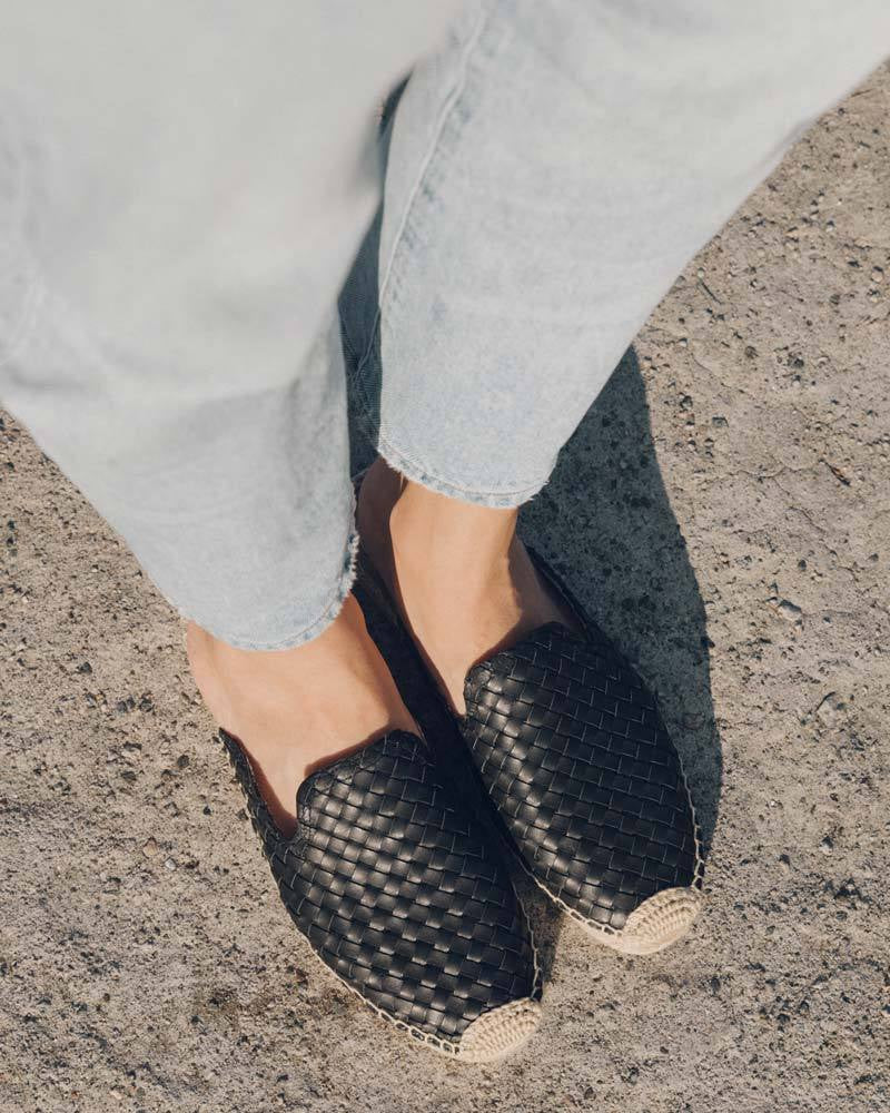 Soludos - Sofia Woven Espadrille - Black Leather - Lucente Collective