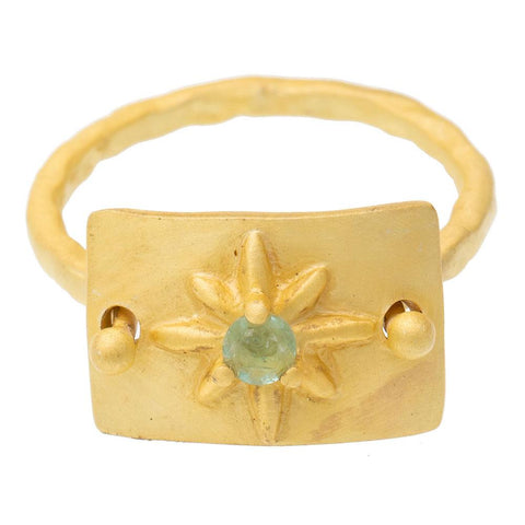 Apatite Gold Plate Star Ring