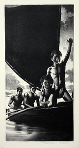 Robert Riggs Lithograph Hawaii 4 (Boys In Outrigger), From Hawaii Series