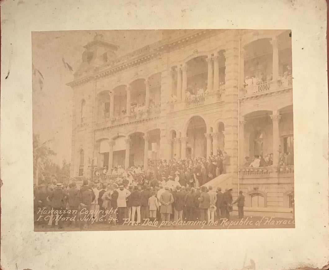 1894 Rare Vintage Albumen Photograph Of Pres. Dole Proclaiming The Republic of Hawaii