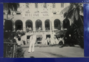 Vintage Photograph Of Navy Sailor In Front Hawaii State Art Museum