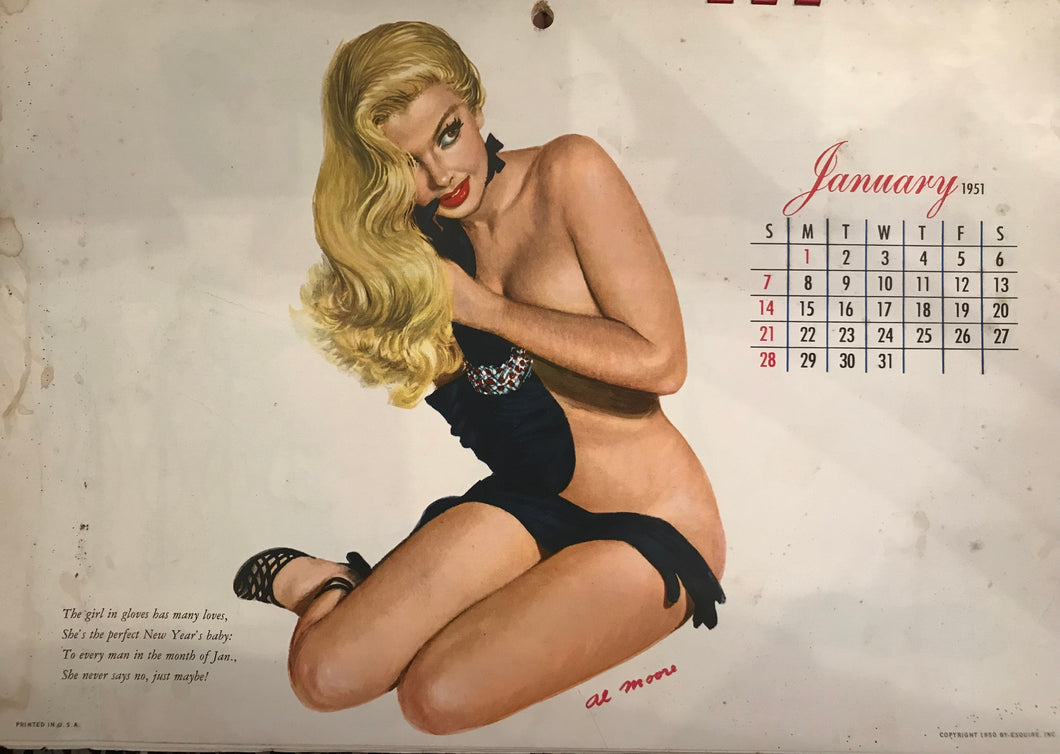 1951 Pin Up Calendar: Artist Al Moore Published By Esquire