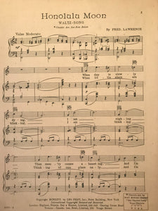 Hawaiian Sheet Music: 'Honolulu Moon'