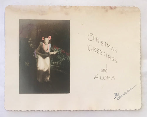 Vintage Hawaiian Christmas Hand Painted Photo Postcard