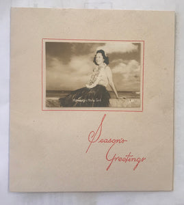 Vintage Hawaiian Christmas Card With Original Hawaiian Hula Girl Photograph