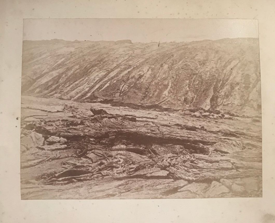 1870's Vintage Chase Albumen Photograph of Lava Beds In Kilauea, Hawaii