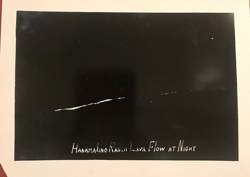 1923 Vintage Photograph of Hanamalino Ranch Lava Flow At Night