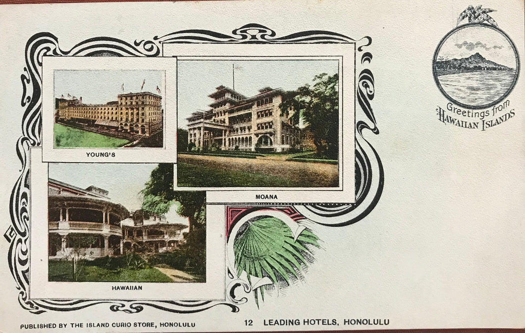 1910's Vintage Post Card Of Hawaiian Hotels, Hawaii