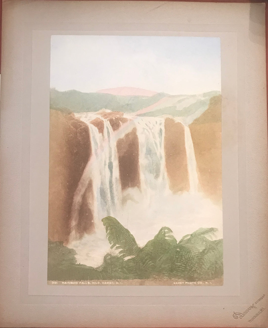 1890's Vintage Hand Colored Photograph By Davey of Rainbow Falls, Hilo, Hawaii