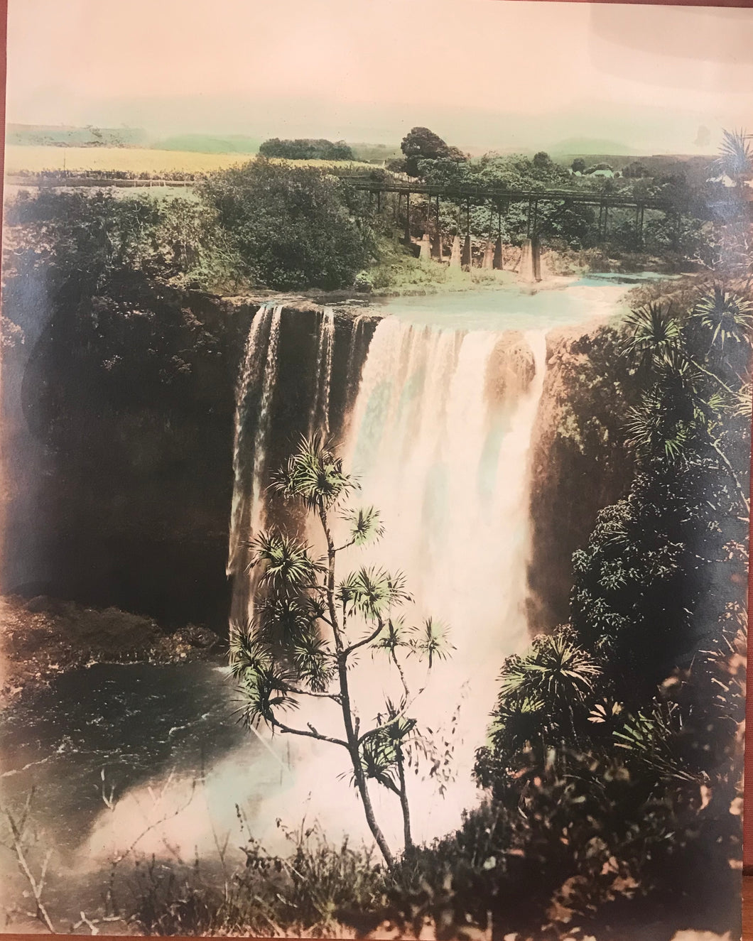 1900 Vintage Hand Colored Photograph Of Wailua Falls, Kauai Hawaii