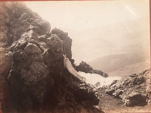 1880's Vintage Albumen Photograph Of Haleakala Crater, Maui, Hawaii
